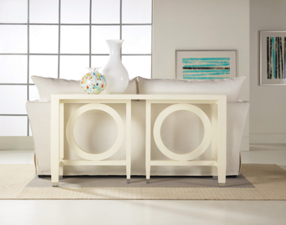 white geometric console table