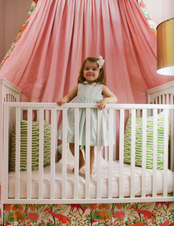 baby girl's crib with canopy