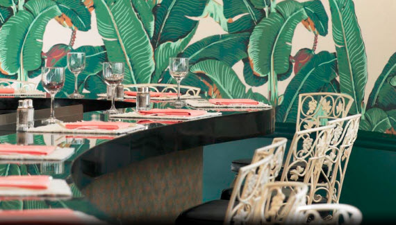 1940's banana leaf wallpaper in Beverly Hills Hotel