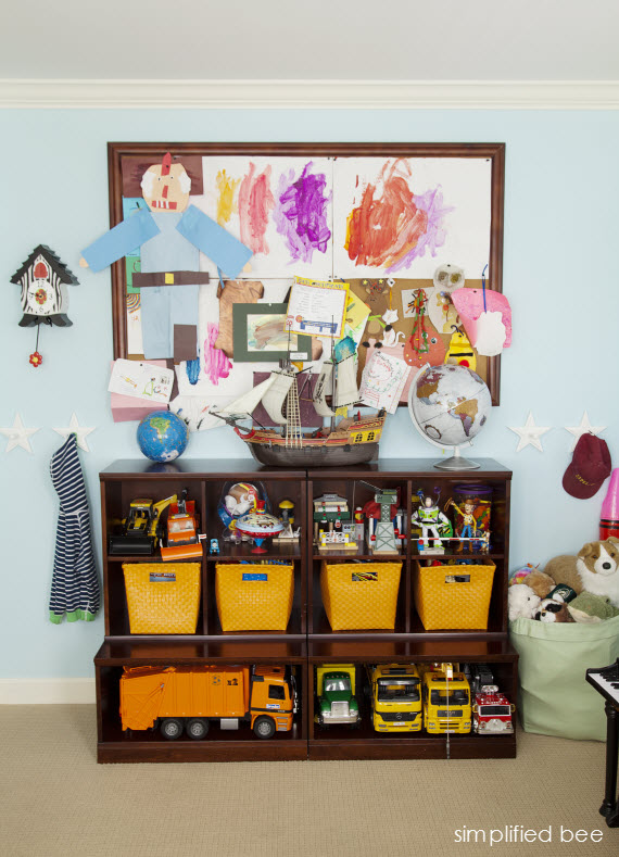 boys bedroom toy storage and pin board // Simplified Bee