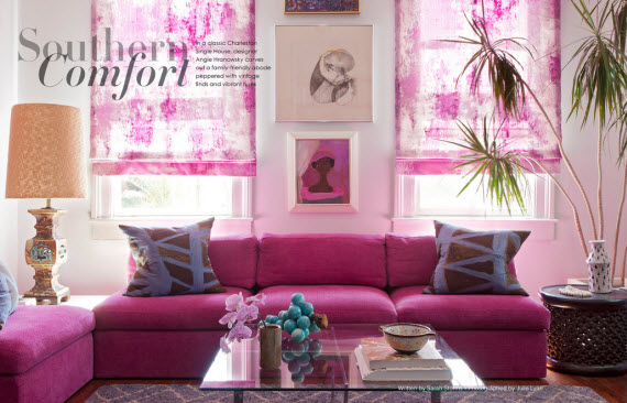 Chic pink living room design simplified bee for Pink living room wallpaper