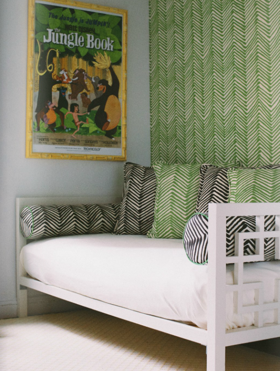 child's daybed with green and black