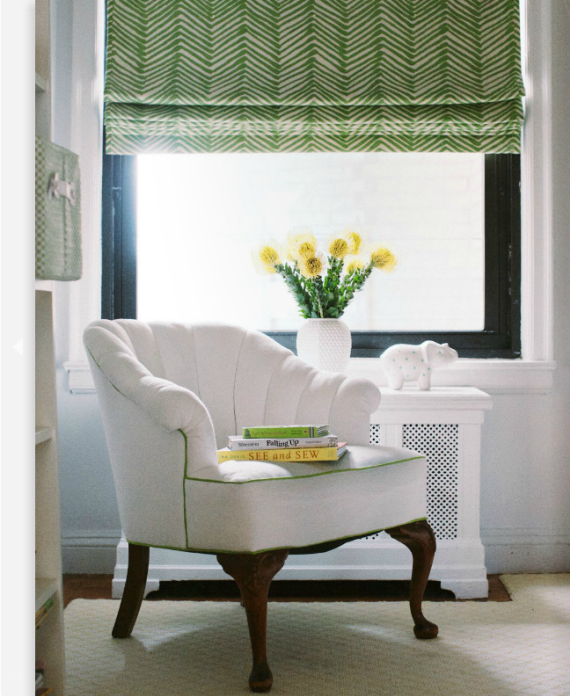 green white chevron roman shade