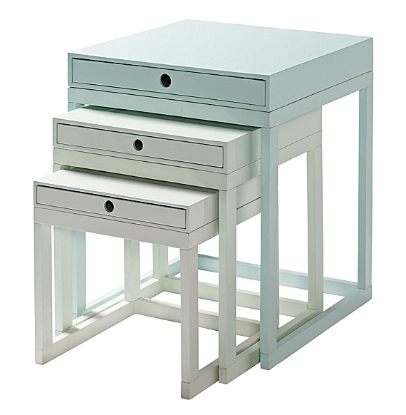 mint blue nesting tables