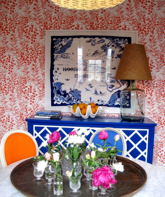 orange and blue dining room