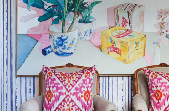 pink+orange ikat pillows