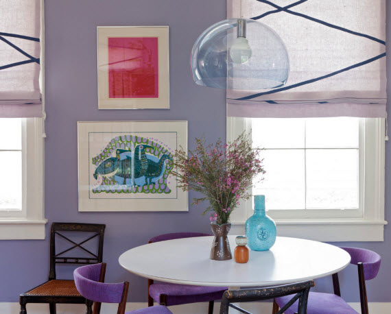 purple breakfast dining area