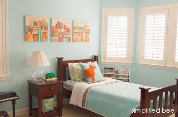 traditional boys bedroom in blue and orange Simplified Bee