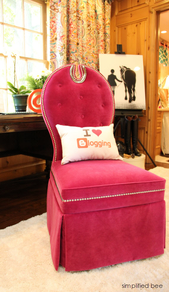 I love blogging pillow // Teen Girl's Room // Woodside Decorator Show House
