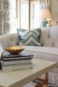 blue chevron pillow + bunny williams lamp - bedroom design by House of Ruby