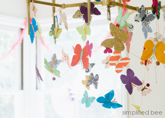 butterfly garland from recycled paper - fiesta ideas