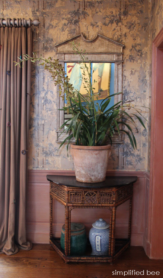 chinoiserie chic foyer with bamboo wallpaper