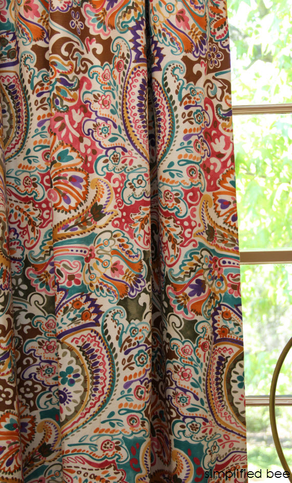 colorful patterned drapery detail