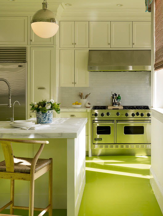 designer kitchen with painted floors