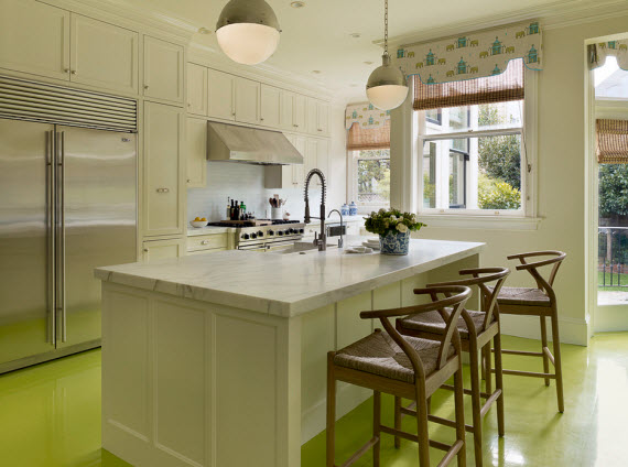 designer kitchen with yellow painted floors