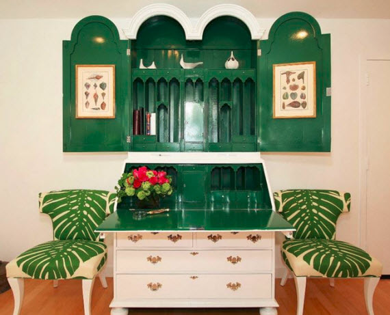 green+white lacquer sectretary desk - Michelle Workman Interiors