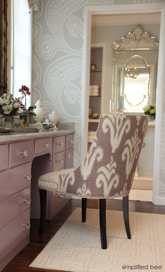 lavender vanity and ikat chair - Woodside Decorator Show House