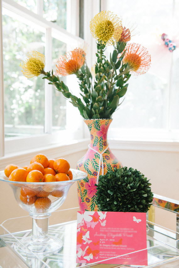 mexican pottery, flowers and tangerines - fiesta ideas