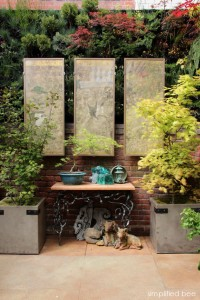 original Japanese painting - Garden Courtyard - San Francisco Decorator Showcase
