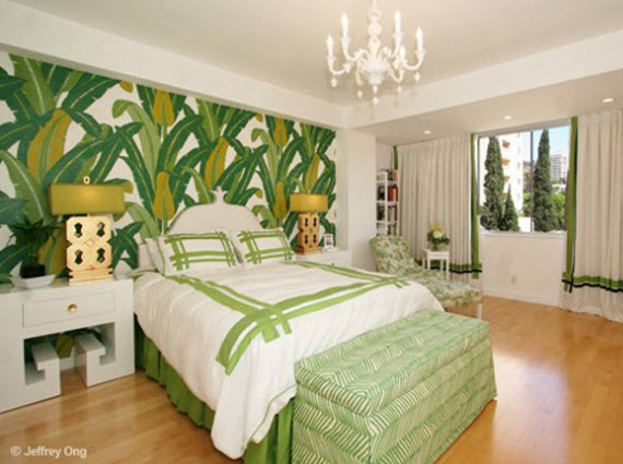 banana leaf wallpaper bedroom - Michelle Workman Design