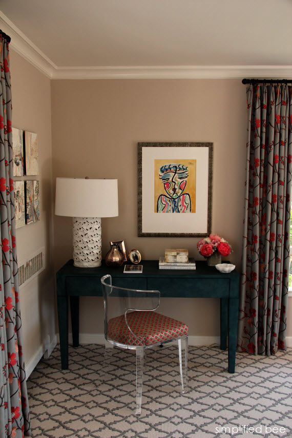 shagreen desk & lucite chair // bedroom
