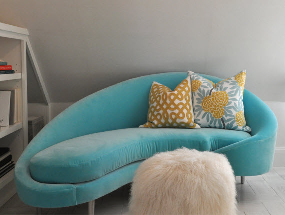 turquoise modern chaise - Writer's Retreat by Kriste Michelini