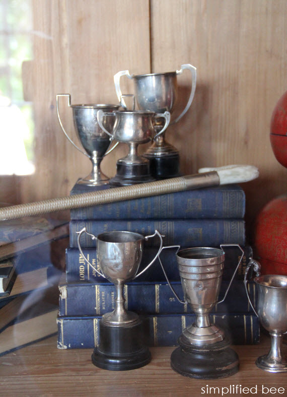 vintage trophy collection display