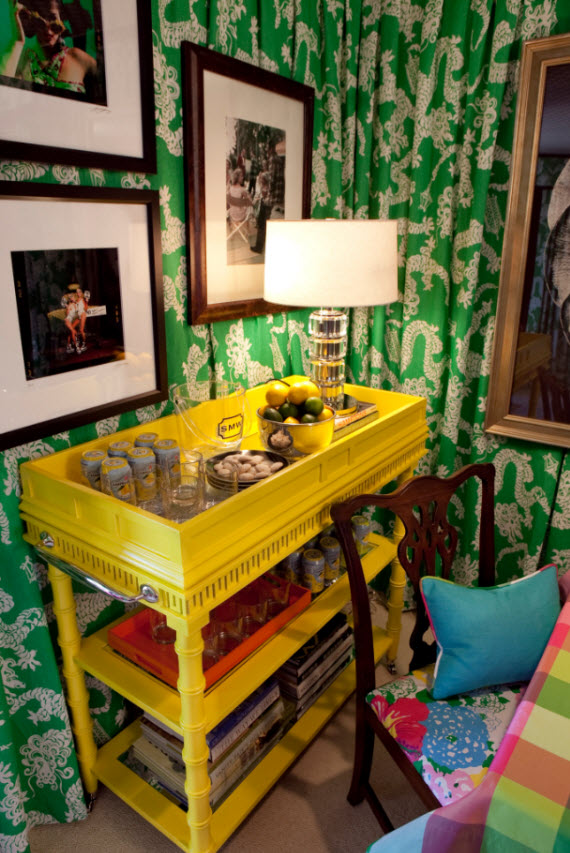 yellow bar cart - card room by Scot Meacham Wood