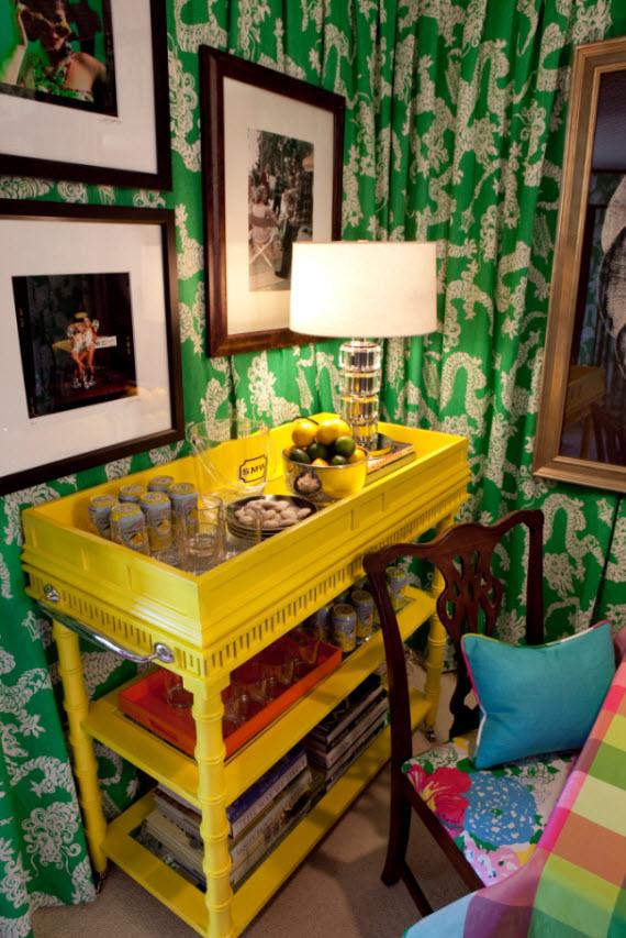 yellow bar cart - card room by Scot Meacham Wood
