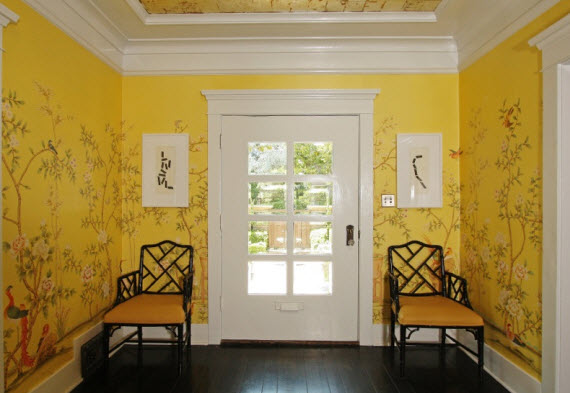 yellow chinoiserie entry - Michelle Workman Interiors