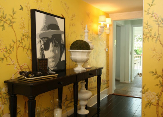 yellow chinoiserie wallpaper - Entry by Michelle Workman Interiors