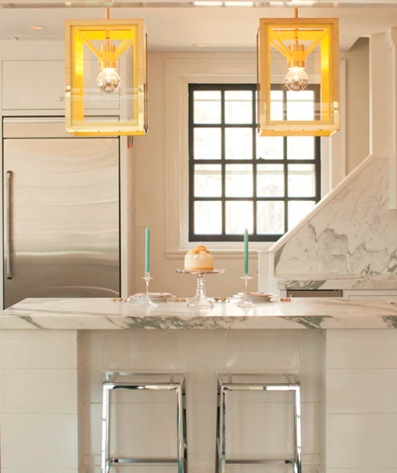 kitchen with brass and neon yellow lantern