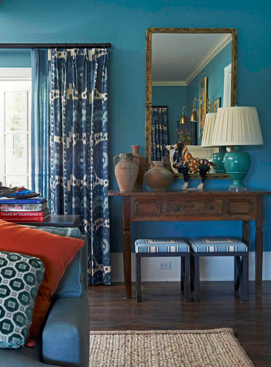 blue living room by Mary McDonald