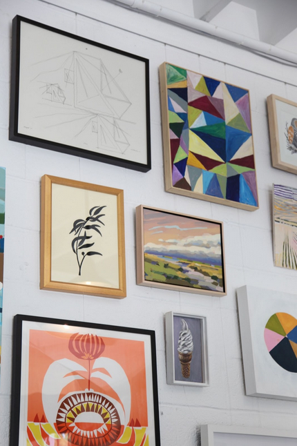 eclectic art gallery wall display