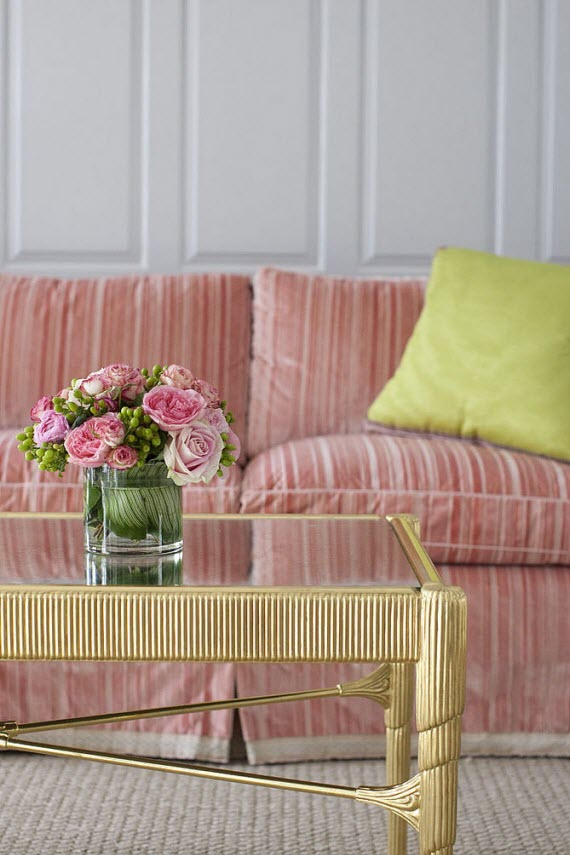 elegant pink sofa - living room