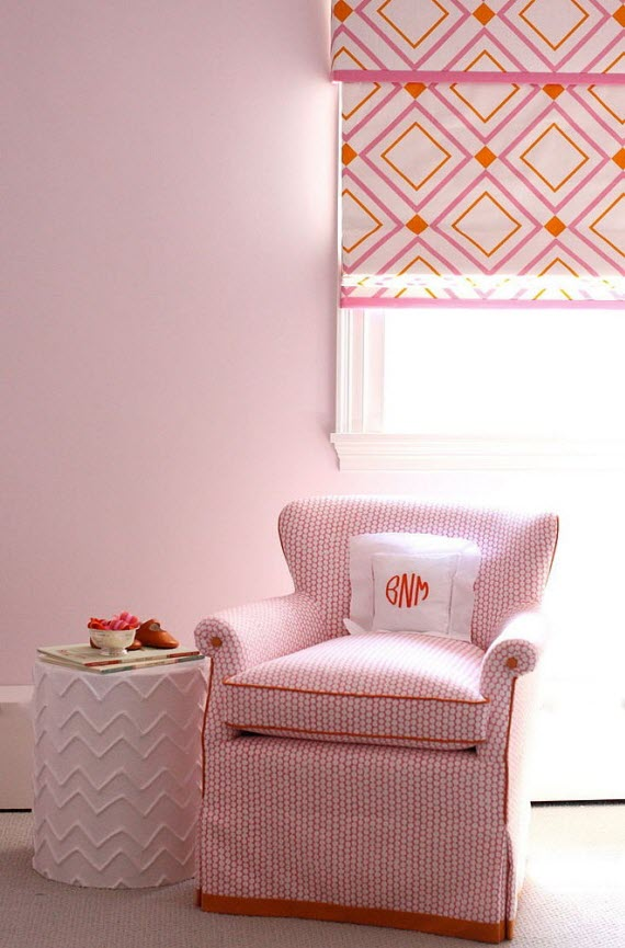 girl's bedroom with orange+pink roman shade