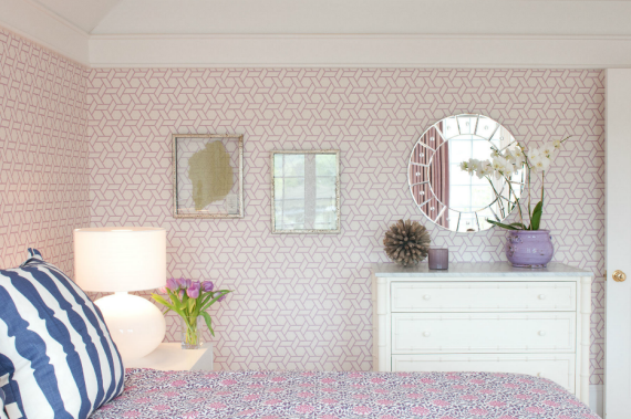 Lavender Trellis Wallpaper Girls Bedroom
