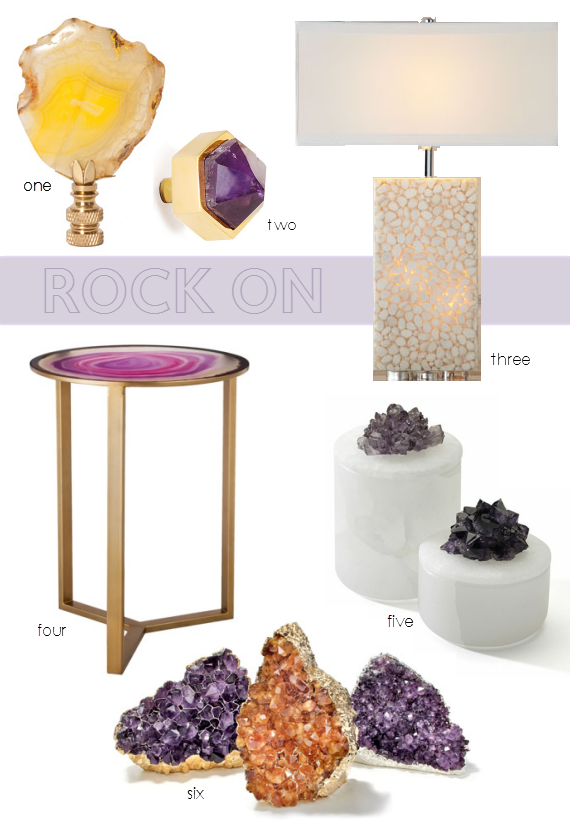 agate, crystal and stone home decor trend