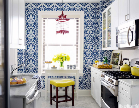 blue and yellow designer kitchen