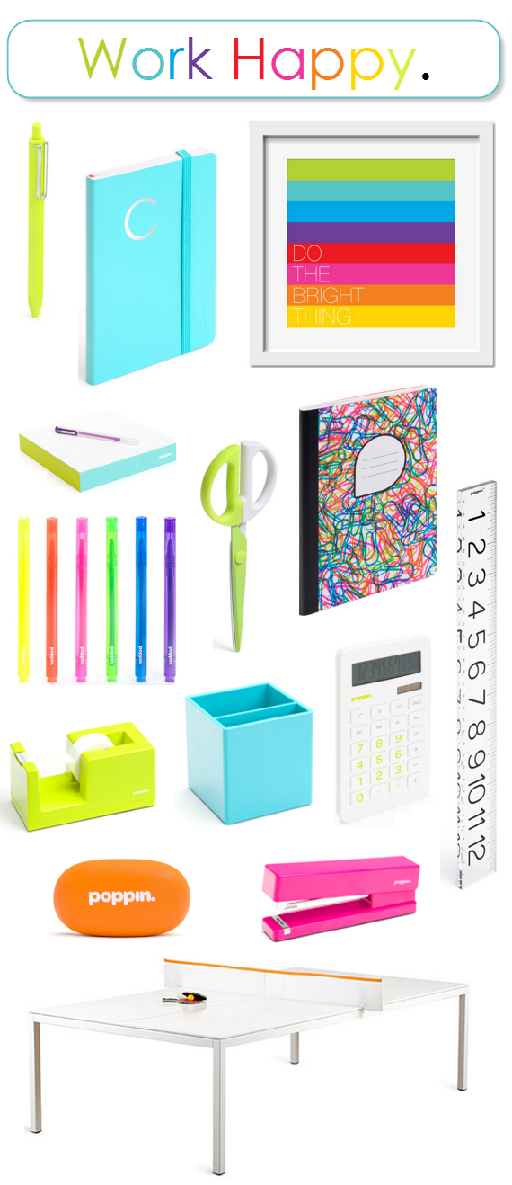 colorful office supplies by Poppin