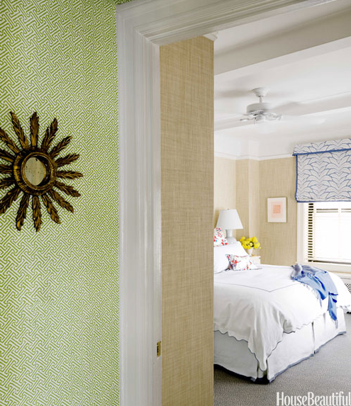 lime-green Quadrille wallpaper in hallway