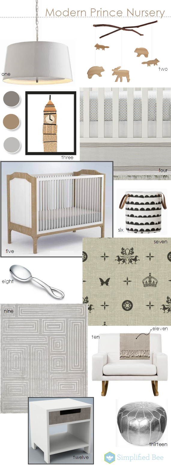 modern prince nursery room design board - Simplified Bee