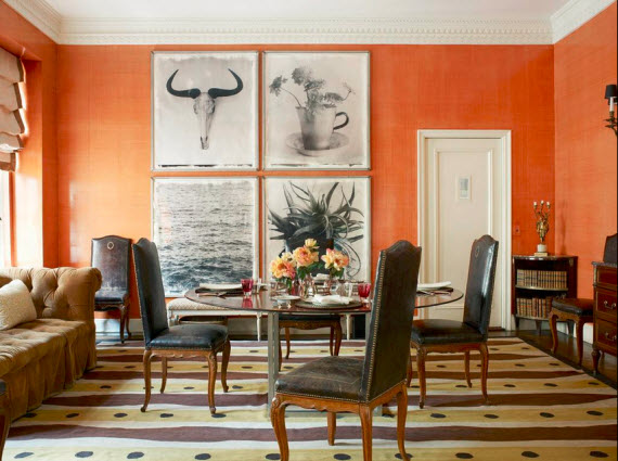 Tom Scheerer Decorates - orange dining  room