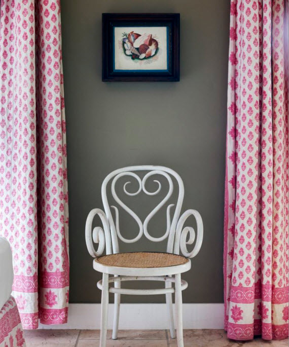 Tom Scheerer - pink drapery and white cane chair