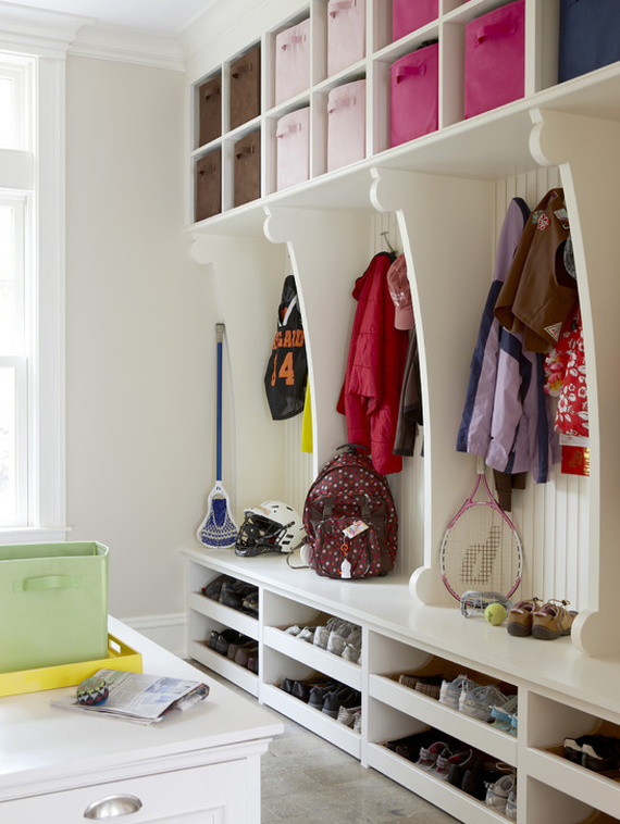 color coded mudroom organization