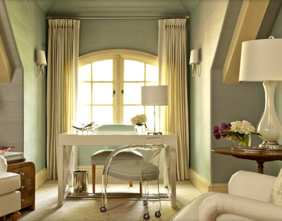 chic home office in bedroom