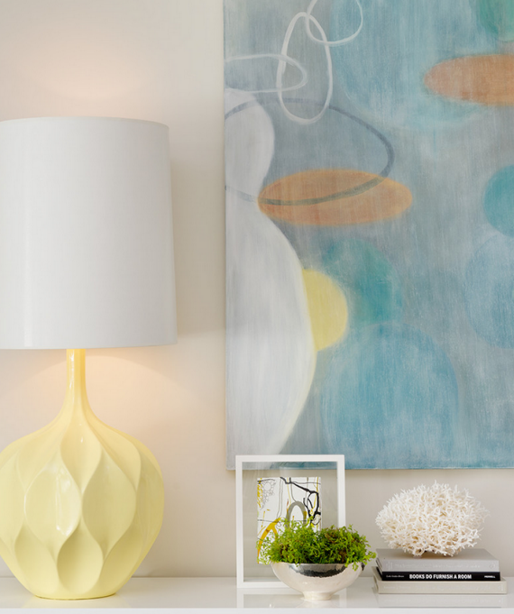modern art, coral and pale yellow lamp - decor vignette