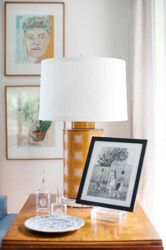 sofa side table lamp and artwork - Collins Interiors