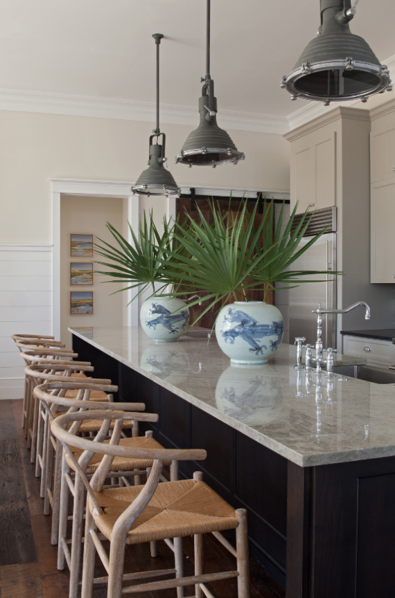 wishbone barstools in kitchen