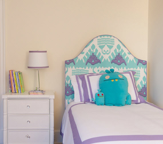Quadrille fabric headboard - girls bedroom - Kerry Hanson Design